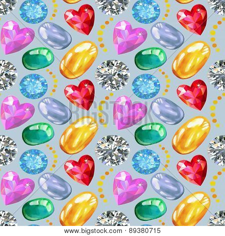 Seamless Texture Of Colored Gems Isolated On Background