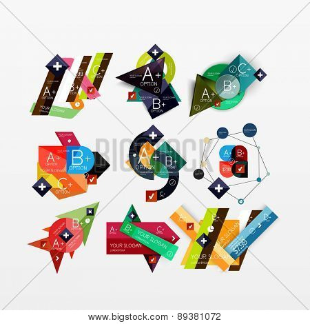 Paper graphics infographic web layouts with sample text