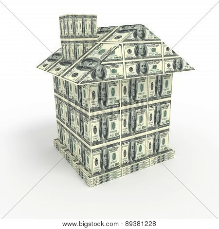 House From Money Isolated On White. Business Concept