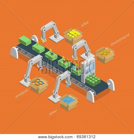 Money Making Process Isometric Concept.