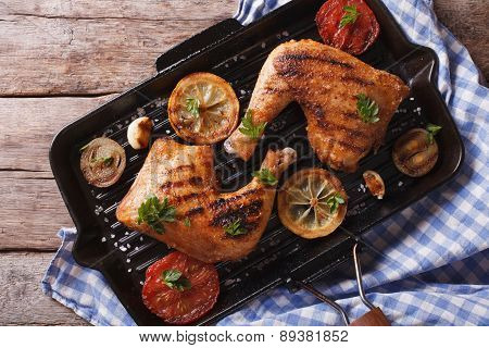 Chicken Legs Grilled On A Grill Pan Close-up Horizontal Top View