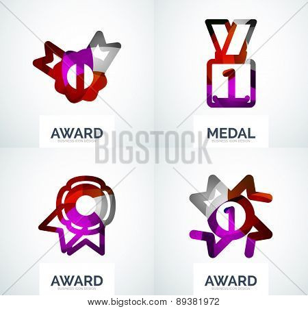 Colorful award business logo set, abstract color shape design