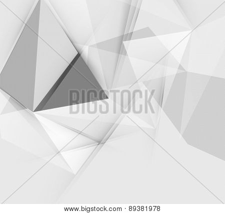 Grey triangular vector abstract background, geometric polygon pattern