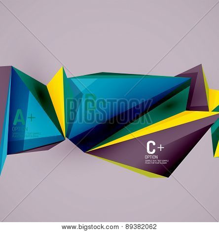 3d geometric shapes in the air. Vector abstract background. Business futuristic presentation layout or web interface or app cover. Universal composition