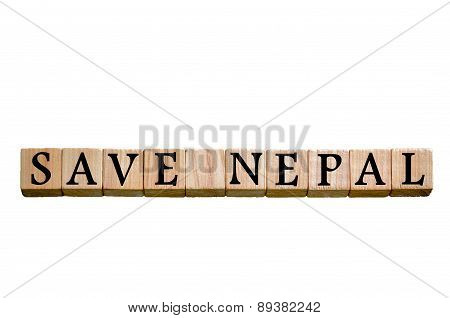 Message Save Nepal Isolated On White Background