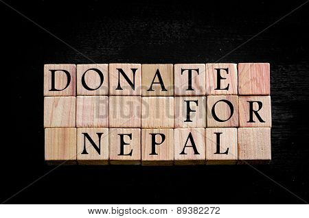 Message Donate For Nepal Isolated On Black Background
