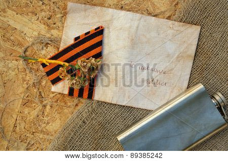 Paper Flowers,saint George Ribbon,hip Flask On A Sackcloth