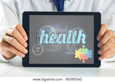 The word health and autism awareness jigsaw against medical biology interface in black