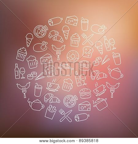 Background with food icons - modern thin lines design.