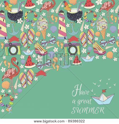 Vector summer pattern. Pattern, set of different  travel, romantic things, summer, vacation holiday,