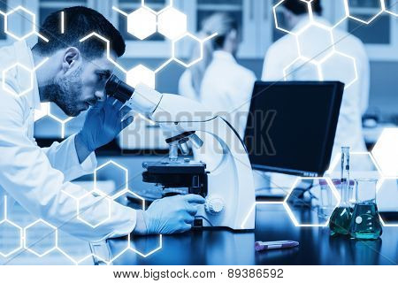 Science graphic against science student working with microscope in the lab