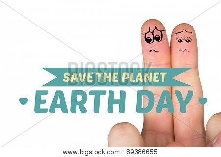 Sad fingers against save the planet