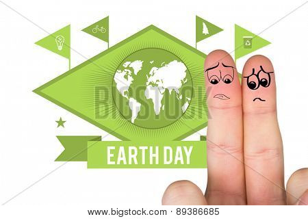 Sad fingers against earth day graphic