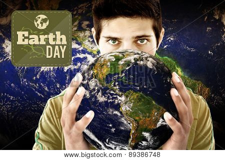 Earth Day Graphic against man holding earth