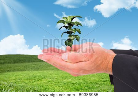 Businessman holding his hands out against blue sky over green field