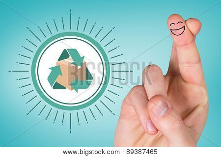 Smiling fingers against blue vignette background