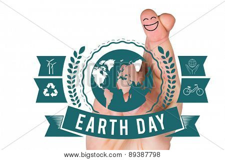 Smiling fingers against earth day graphic