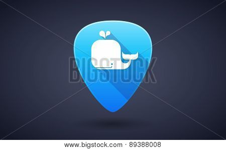 Blue Guitar Pick Icon With A Whale