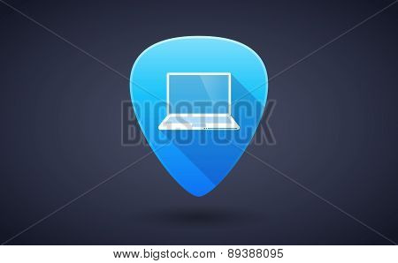 Blue Guitar Pick Icon With A Laptop