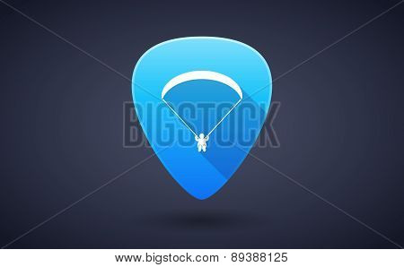 Blue Guitar Pick Icon With A Paraglider
