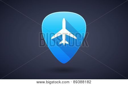 Blue Guitar Pick Icon With A Plane