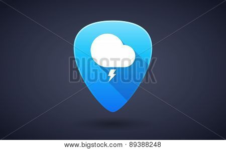 Blue Guitar Pick Icon With A Cloud