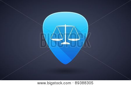 Blue Guitar Pick Icon With A Weight Scale