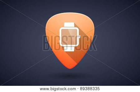Orange Guitar Pick Icon With A Smart Watch