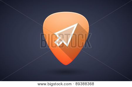 Orange Guitar Pick Icon With A Pointer