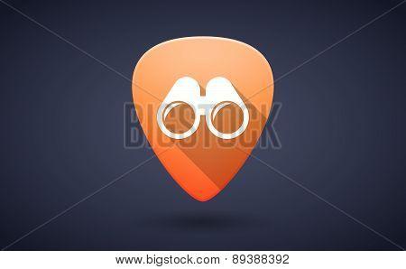 Orange Guitar Pick Icon With A Binoculars