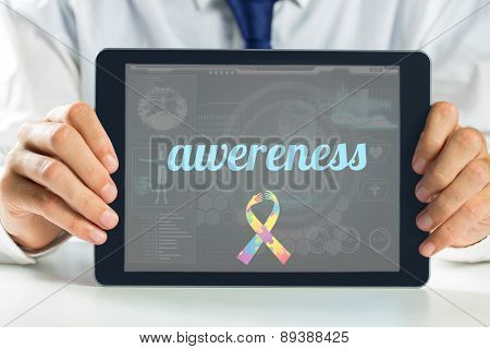 The word awereness and autism awareness ribbon against medical biology interface in blue