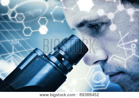 Science graphic against close up of a scientific researcher using microscope