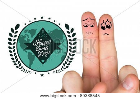 Sad fingers against happy earth day graphic
