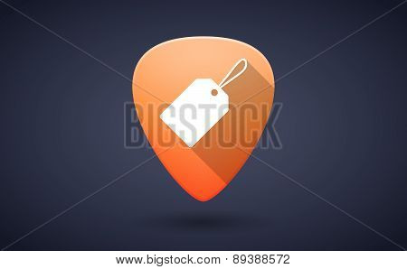 Orange Guitar Pick Icon With A Shopping Label