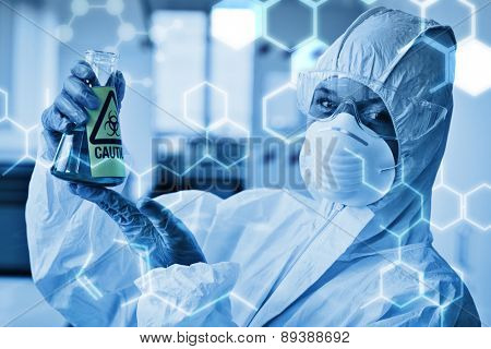 Science graphic against scientist in protective suit with hazardous chemical in flask