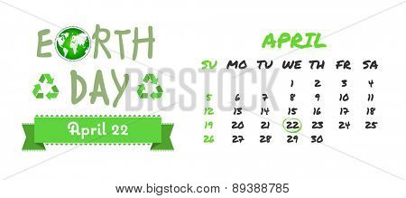 april calendar against earth day graphic