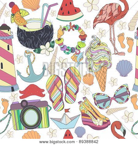 Vector seamless pattern. Pattern, set of different  travel, romantic things, summer, vacation holida