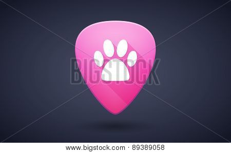 Pink Guitar Pick Icon With An Animal Footprint