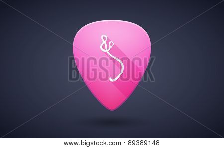 Pink Guitar Pick Icon With An Ebola Sign