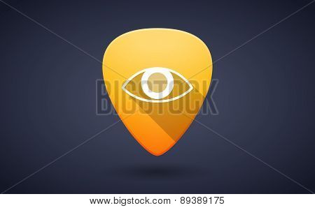 Yellow Guitar Pick Icon With An Eye