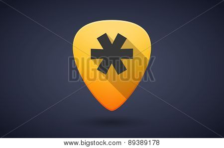 Yellow Guitar Pick Icon With An Asterisk
