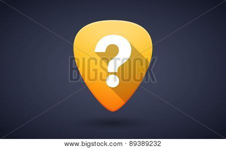 Yellow Guitar Pick Icon With An Interrogation Sign
