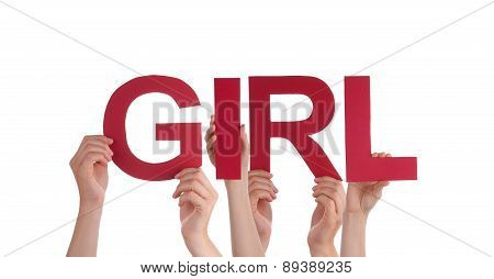 Many People Hands Holding Red Straight Word Girl