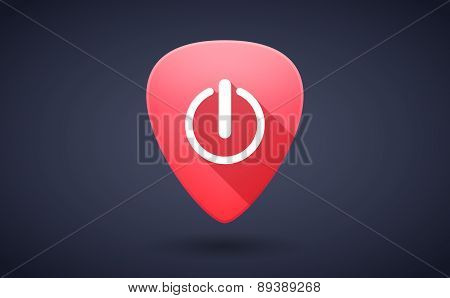 Red Guitar Pick Icon With An Off Sign