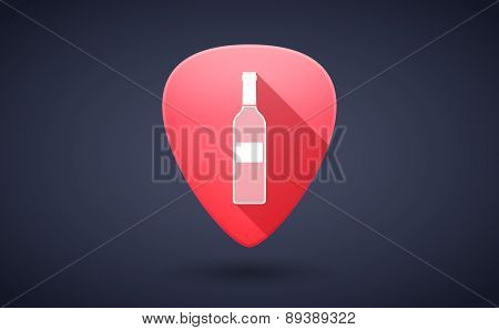 Red Guitar Pick Icon With A Bottle Of Wine