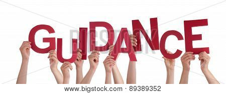 Many People Hands Holding Red Word Guidance