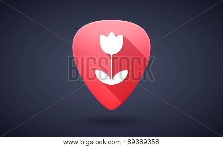 Red Guitar Pick Icon With A Tulip