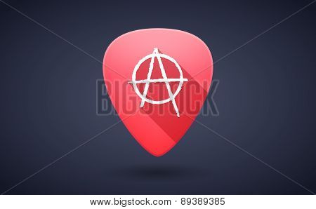 Red Guitar Pick Icon With An Anarchy Sign
