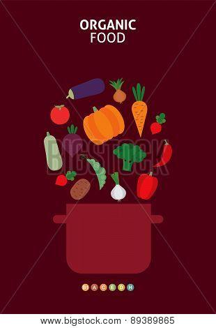 Vector card with vegetables. Organic food menu. Vector vegetables