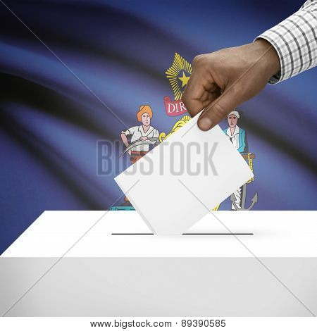 Voting Concept - Ballot Box With Us State Flag On Background - Maine
